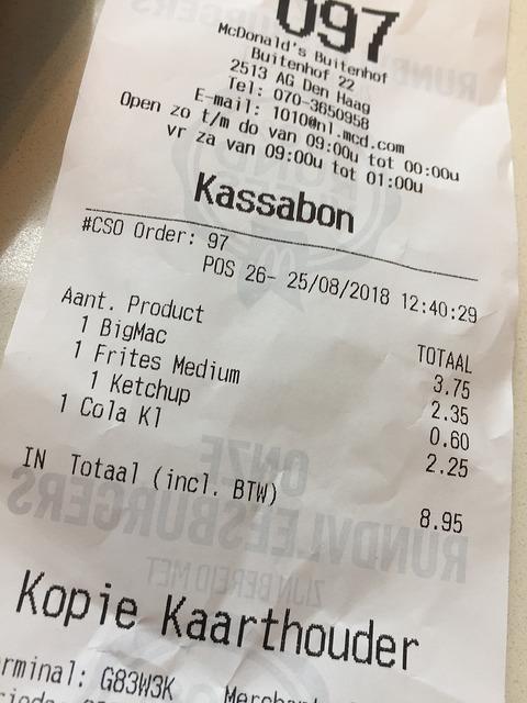 McDonald's kassabon