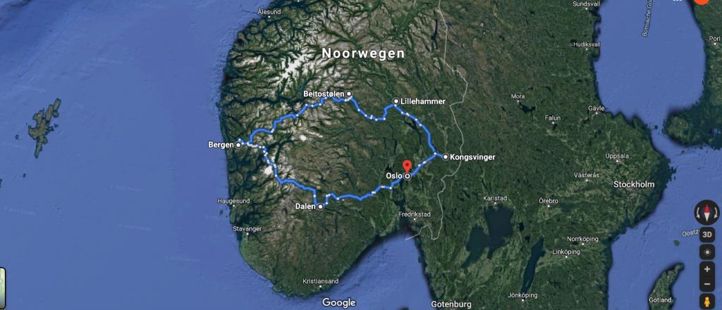 Route door Noorwegen